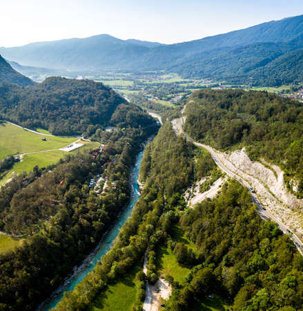 Beautiful Soca River in Slovenia europe. Aerial Shot of the Valley.