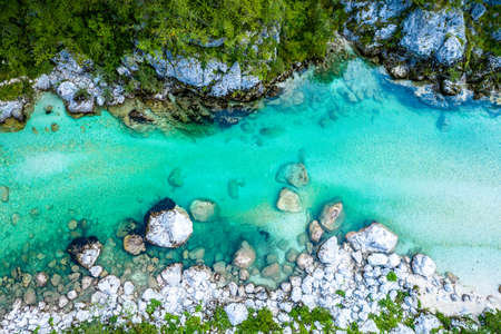 Beautiful Soca River in Slovenia europe. Aerial Shot of the Valley. Mountains, River, Forest. Imagens