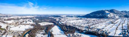 Bavarian Isartal Panorama Shot close to Bad T lz Winter Banco de Imagens