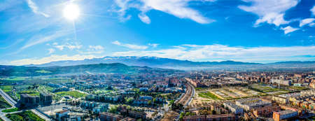 Granada city-Alhambra. Panoramic aerial drone view. Spain Andalusia