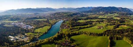 Aerial Panorama Bad T lz, Isar Valley, Germany Bavaria. Sunrise shot April