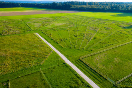 Green pastures of horse farms. Countryside landscape. Drone Aerial Shot. Paddocks, Outdoor