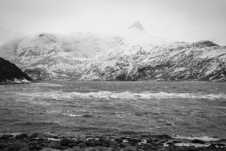 bod: view of a Fjord in the winter wind, Elvfjorden Nordland Norway Stock Photo