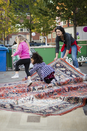 screening: Amsterdam, The Netherlands, 12 September 2014, at Westival, a free open air Cinema and culture festival on Mercatorplein. before the screening, preparation, people hanging around Editorial