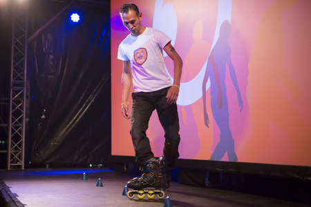 roller blade: Amsterdam, The Netherlands, 12 September 2014, during Westival, an open air free Cinema and culture festival on Mercatorplein. circus show before the screening