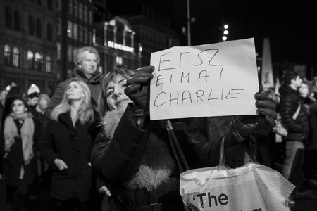 extremist: Amsterdam, The Netherlands, January 08 2015: demonstation in solidarity with the attack against Charlie Hebdo in Paris, France on 07 January