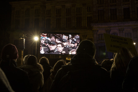 Amsterdam, The Netherlands, January 08 2015: demonstation in solidarity with the attack against Charlie Hebdo in Paris, France on 07 January