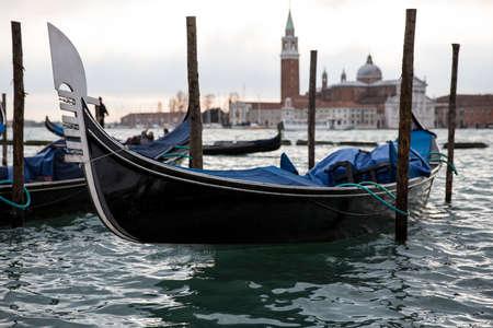 saint mark square: Gondolas in front of San Marco square, Venice Italy Editorial