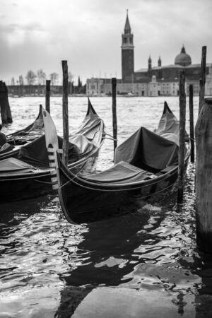 marco: Gondolas in front of San Marco square, Venice Italy Stock Photo