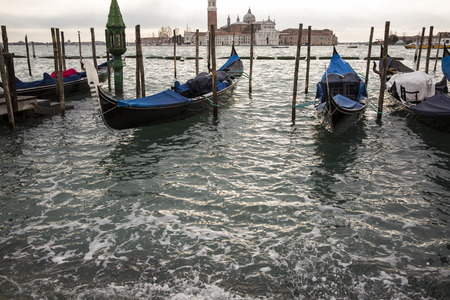 weekend break: Gondolas in front of San Marco square, Venice Italy Editorial
