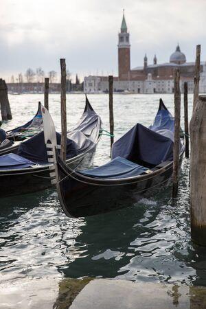 san marco: Gondolas in front of San Marco square, Venice Italy Editorial