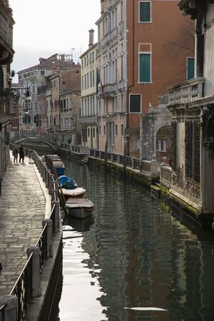 water reflection: Typical venetian residential canal with reflection on water, Cannaregio, Venice Italy Stock Photo