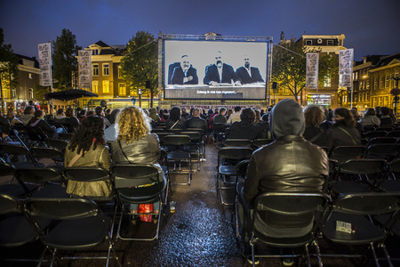 Amsterdam, The Netherlands - august 20 2014: during the open air screening of Mexican film Paraíso, Marie Heinekeinplein, World Cinema Amsterdam festival, a world film festival held from 14 to 24082014