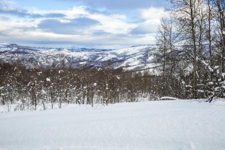 Snowy Norwegian mountain landscape, Nordland, Norway photo