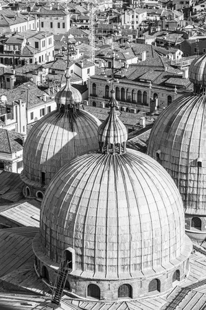 love dome: Aerial view of cupolas from San Marco Cathedral, Venice, Italy Stock Photo