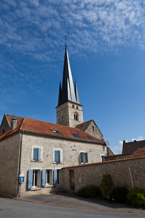 church tower: Typical French Village with the church tower Stock Photo