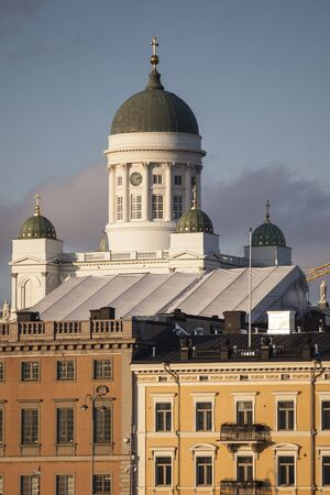 View on the port of Helsinki with the cathedral in the background photo