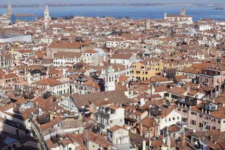 the campanile: Aerial View of Venice from the Campanile, Italy