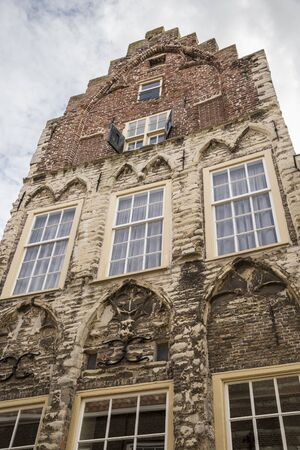 front of an old gothic gabble house, Zierikzee, the Netherlands