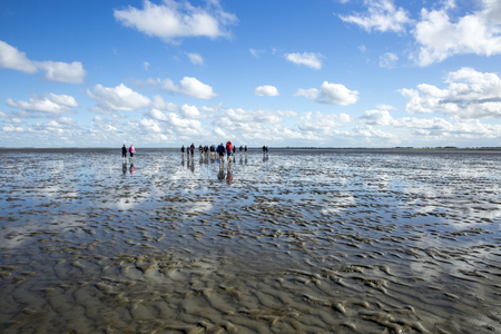 Maritime landscape with reflection of clouds in low tide water and group of people trekking, Waddenzee, Friesland, The Netherlands