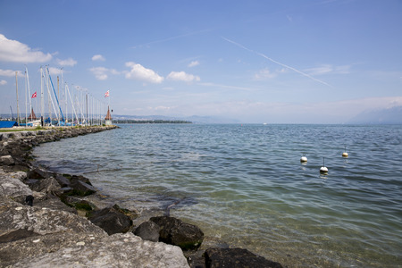 leman: View on the geneva lake - lac Leman - on a sunny day