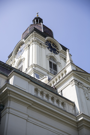 protestant: Protestant church tower, Morges, Switzerland Stock Photo