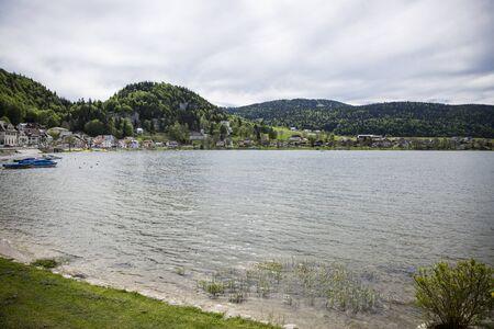 jura: View on Joux lake -lac de Joux and the Jura mountains, Le Pont, Switzerland