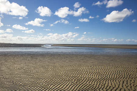 Maritime landscape with blue sky white clouds and pattern in the sand, Waddenzee - Wadden Sea, Friesland, The Netherlands Stock Photo - 69427988