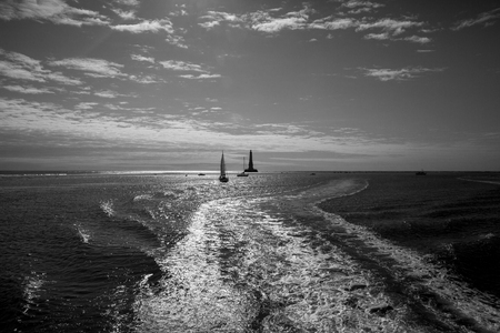 gironde: view over the sea with silhouette of the historical renaissance lighthouse of Cordouan at sunset, Gironde estuary, France