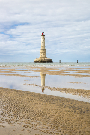 view of the historical lighthouse of Cordouan at low tide, Gironde estuary, France Stock Photo