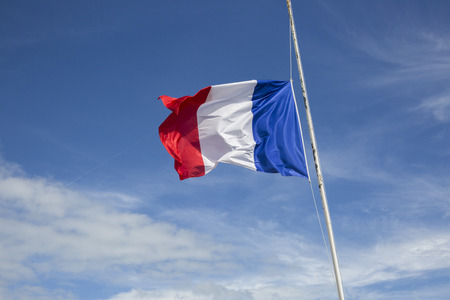 Flag of France floating  in the wind in front of a blue sky background