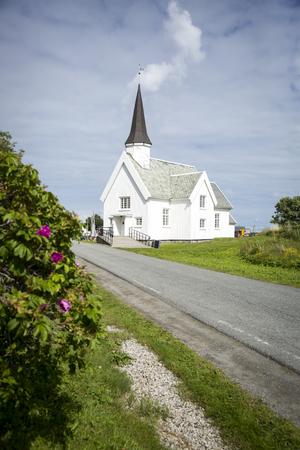 old white wooden scandinavian church, traena, Norway