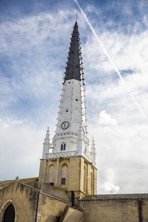 re: Village of Ars en Re with Saint-Etienne church spire, Ile de Re, France Stock Photo