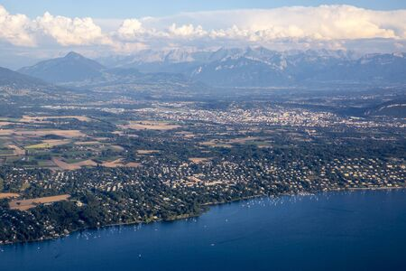 lac: Aerial view over the mountain range of the Alps and Geneva lake, Switzerland