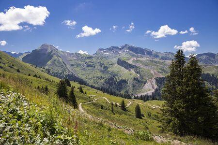 Bucolic green summer alpine landscape, Swiss Alps mountain massif, canton du Valais, Switzerland