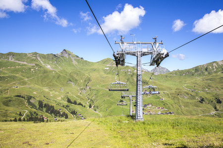 alpine landscape in summer viewed from the chair lift, Alps mountain massif, Cantons Vaud and Valais, Swiss Alps, Switzerland