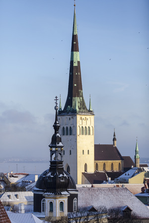 City scape of the old town of Tallinn Stok Fotoğraf