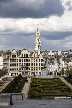 facto: Brussels, Belgium - April, 17 2016: View from Monts des Arts with view on the tower of cityhall. Brussels is the capital of Belgium and the de facto capital of the European Union. Editorial