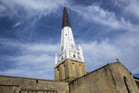 're: Village of Ars en Re with Saint-Etienne church spire, Ile de Re, France Stock Photo