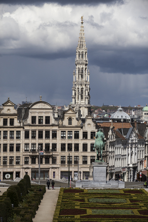 Brussels, Belgium - April, 17 2016: View from Monts des Arts with view on the tower of cityhall. Brussels is the capital of Belgium and the de facto capital of the European Union. Editorial