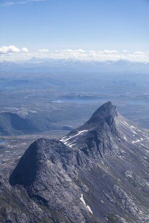 Aerial view of Norwegian fjord mountain range