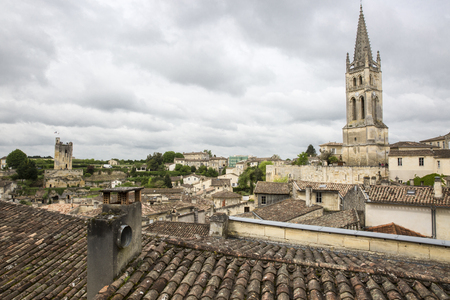 saint emilion: Aerial view of French medieval village Saint Emilion, France