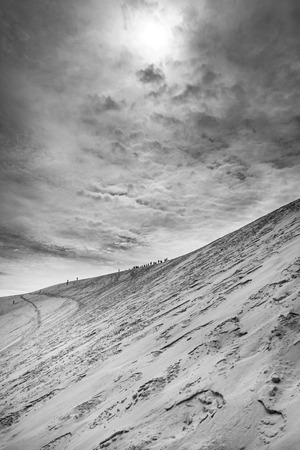 Black and white view from Dune of Pilat or Pyla - the largest sand dune in Europe, Aquitaine, France