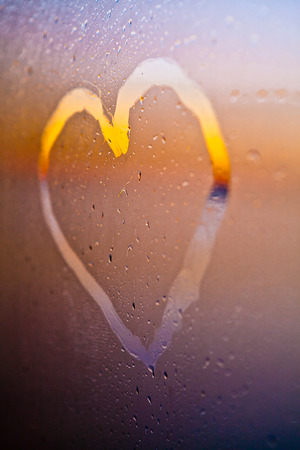 heart drawn on a window