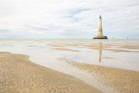 gironde: view of the historical lighthouse of Cordouan at low tide, Gironde estuary, France Stock Photo