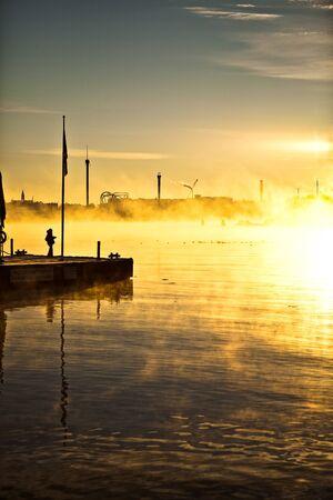 winter morning, Strandvägen Stockholm Stock Photo