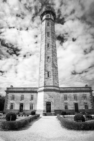 view from the ground of the 1854 Grand Phare des Baleines lighthouse, Ile de Re, France. Stock Photo