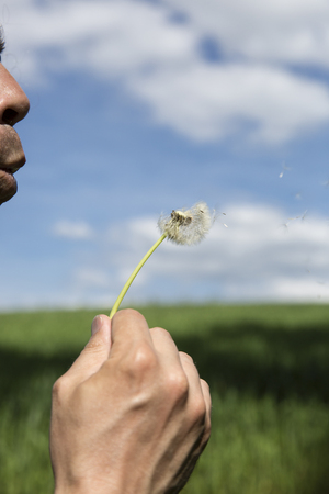 man holding and blowing the seeds of a dandelion