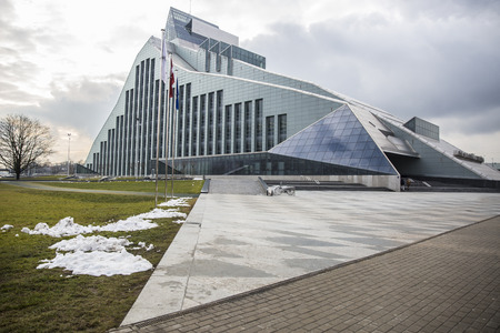 presidential: Riga, Latvia - February 15, 2016: New Building of National Library of Latvia, known also as Castle of Light Editorial