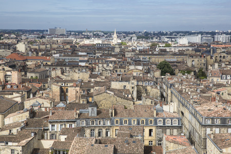 gironde: Aerial view of Bordeaux cityscape, France